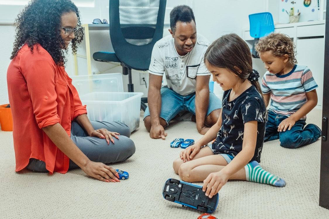 child checking toys