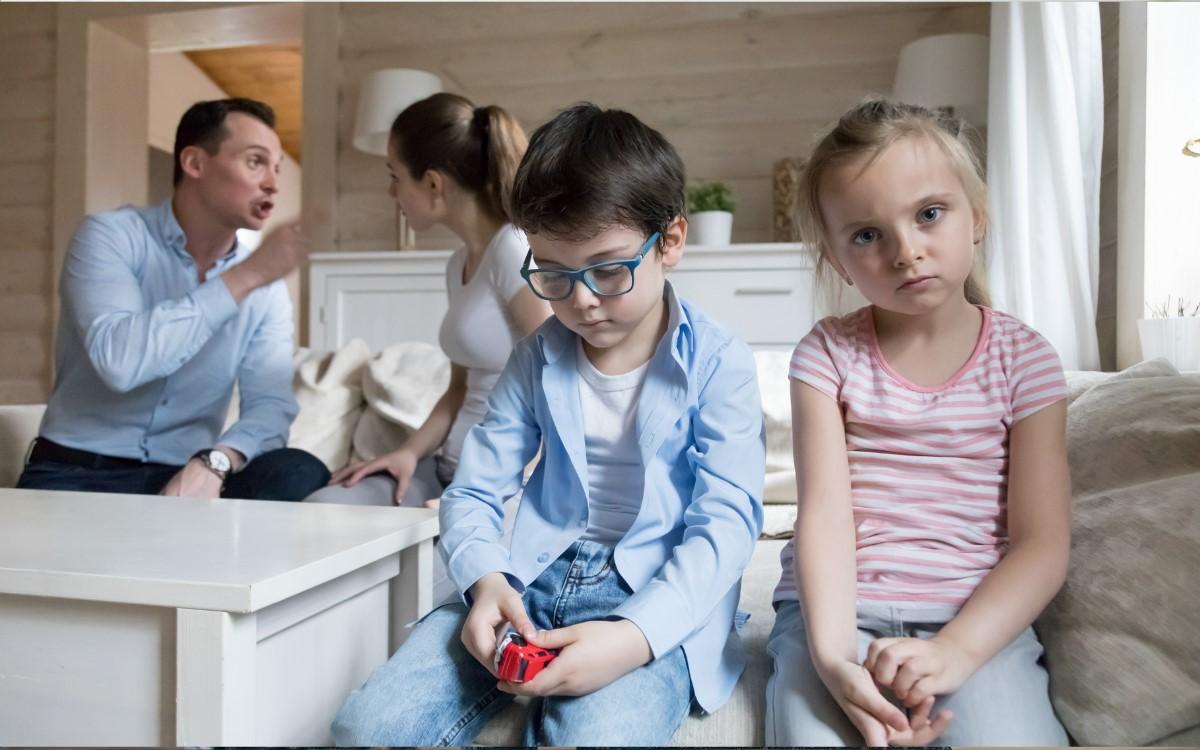 sad children couple fight