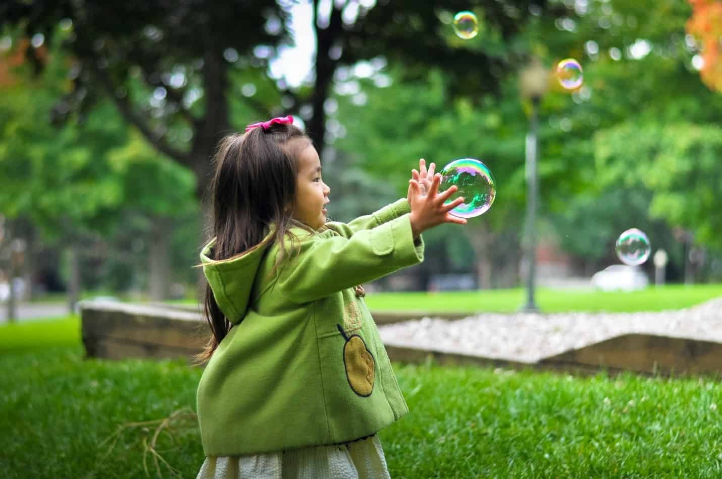 girl baby bubbles
